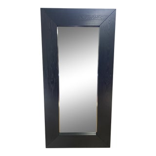 Leaning Black Stained Wood Mirror For Sale