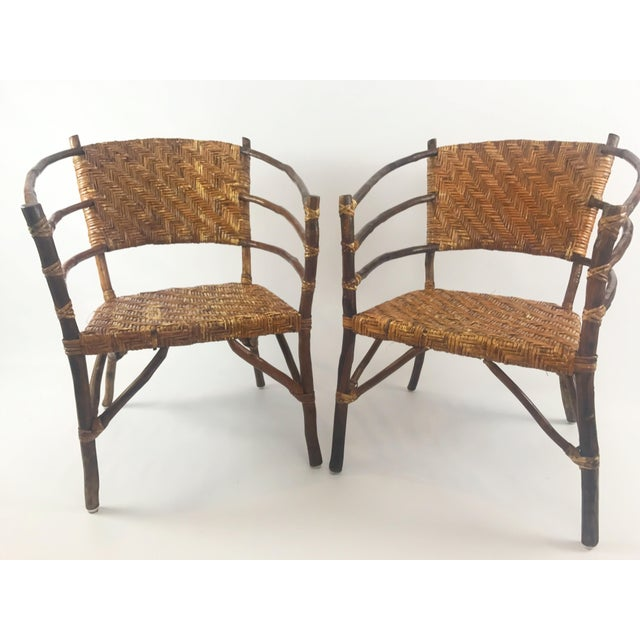 Vintage Barrel Backed Hickory Hoop Arm Chairs - A Pair For Sale - Image 11 of 11