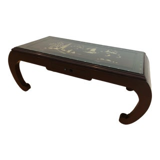 Vintage Ming Style Black Lacquer Low Table Carved With Inlaid Mother of Pearl For Sale