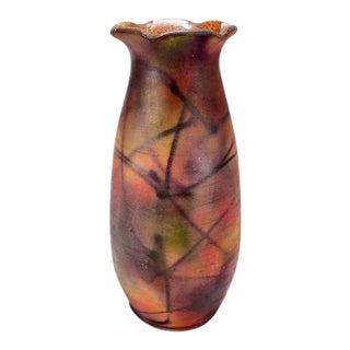 Mid-Century European Multi-Color Ceramic Ruffled Neck Vase For Sale
