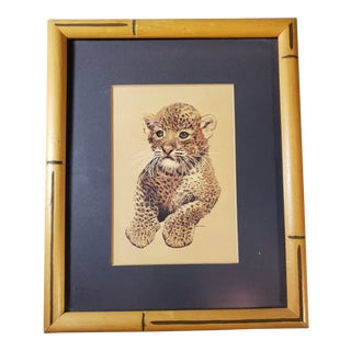 Vintage 1970s Mid-Century Modern Baby Leopard Animal Print in Bamboo Frame For Sale