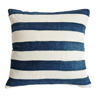 Indigo Striped Pillow For Sale