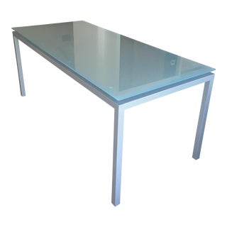 Min Glass and Steel Dining Table For Sale