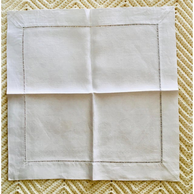 Mid 20th Century Antique White Linen Damask Napkins - Set of 9 For Sale - Image 5 of 7