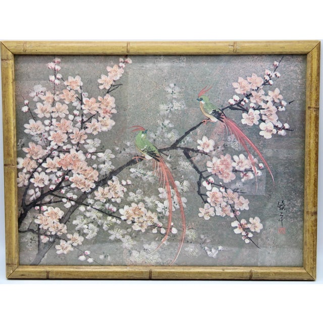 Dark Gray Vintage Exotic Birds Print in Faux Bamboo Wood Frame For Sale - Image 8 of 8