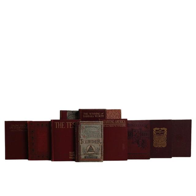 Vintage Cranberry & Gilt Book Set, S/18. Features a blend of eighteen authentic vintage books published 1900-1959....