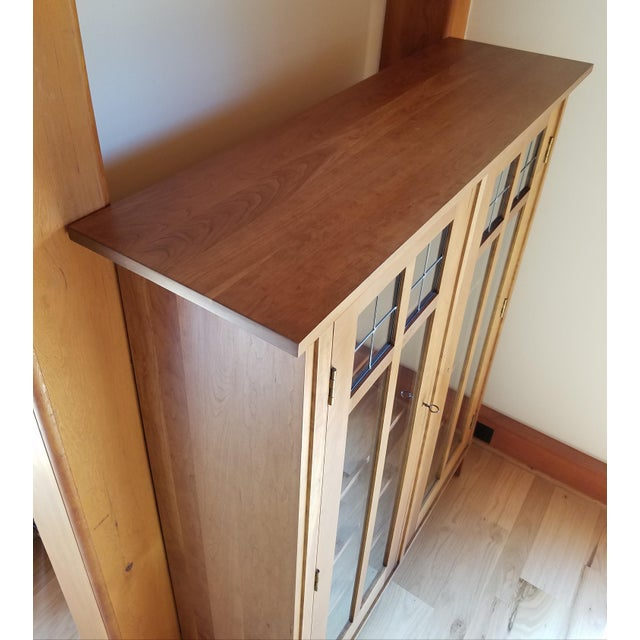 Stickley Stickley Cherry Leaded Glass Double Door Bookcase For Sale - Image 4 of 13