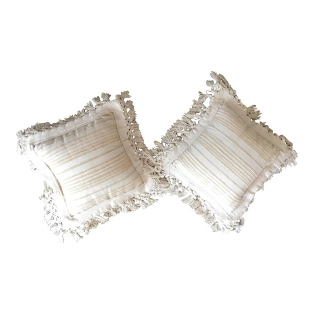 White Fringed Woven Pillows - A Pair For Sale
