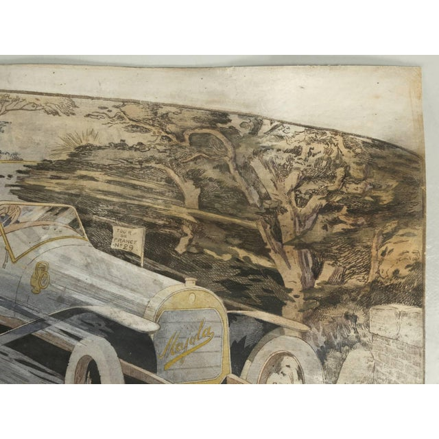 White Gamy French Automobile Lithograph, Hand-Colored Majola Auto Circa 1913 For Sale - Image 8 of 11