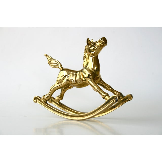 1960s 1960s Mid-Century Modern Brass Rocking Horse Figurine For Sale - Image 5 of 10
