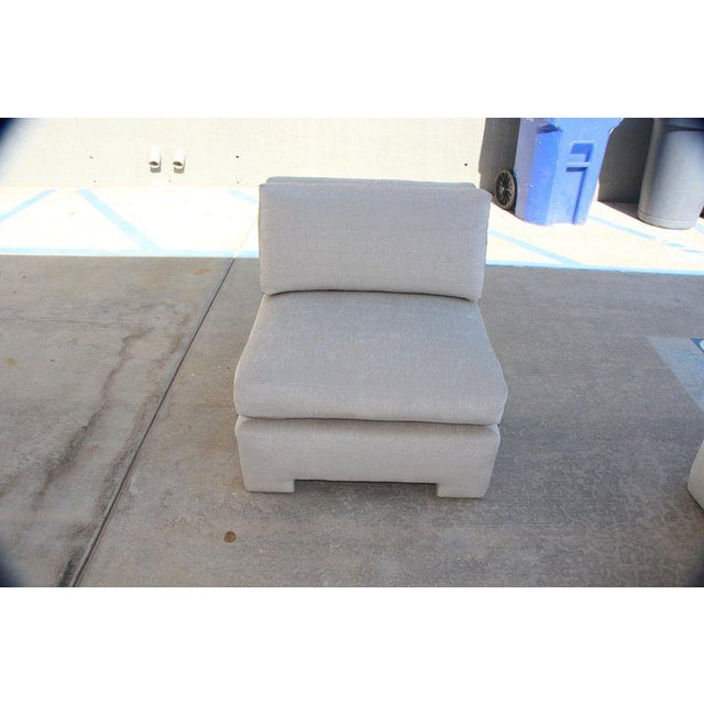 1980s Marge Carson Hollywood Regency Sofa and Chairs Redone in Knoll Summit Fabric For Sale - Image 5 of 13