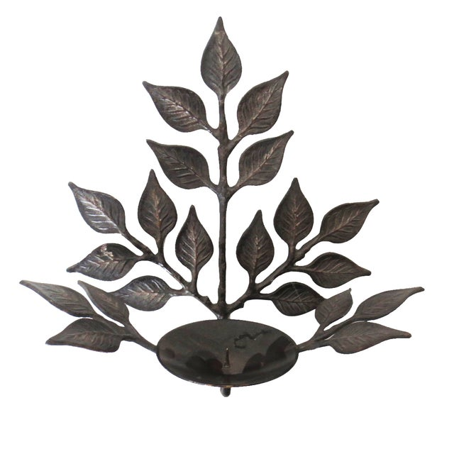 Leaf Candle Sconces - A Pair - Image 3 of 6