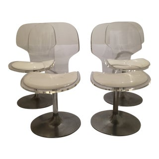 1970s Vintage Hill Lucite Swivel Dining Chairs- Set of Four For Sale