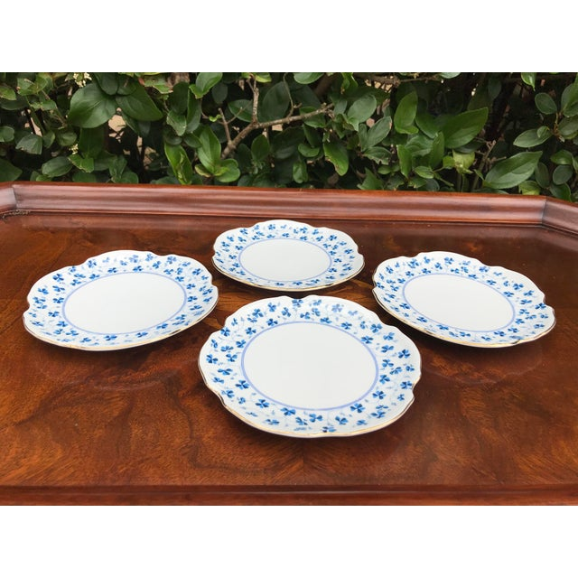 Late 20th Century Godinger and Company Dessert Plates in the Blue Belle Pattern - Set of 4 For Sale - Image 5 of 8