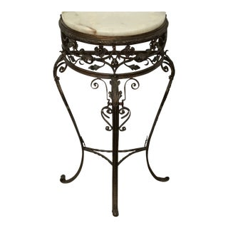 20th Century Italian Alabaster Marble Topped Wrought Iron Demi-Lune Table For Sale