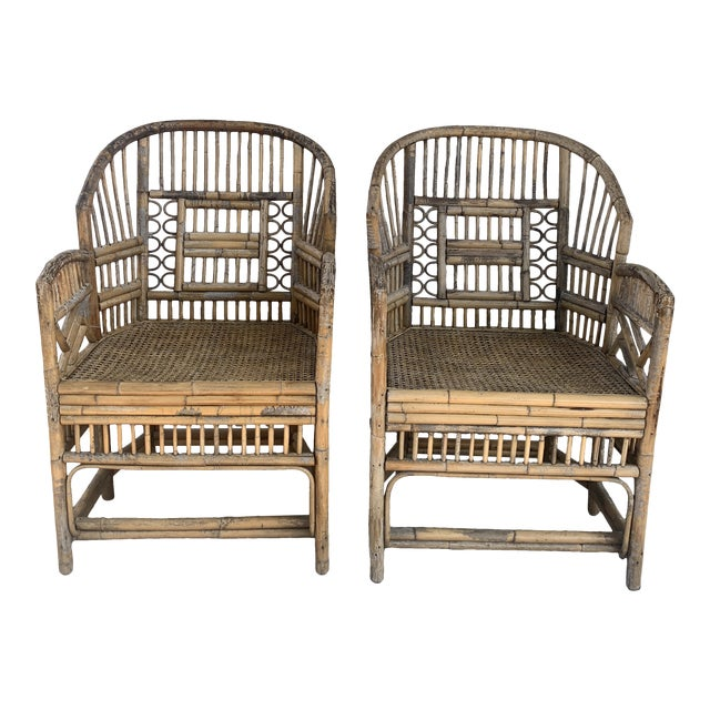 Pair of Vintage Bamboo Brighton Chairs For Sale