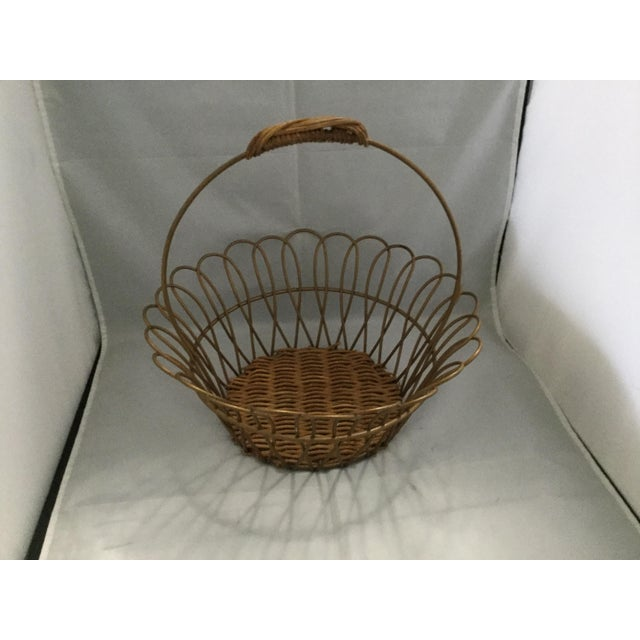 "Vintage Wire handmade basket , 10"" wide, 5"" tall"