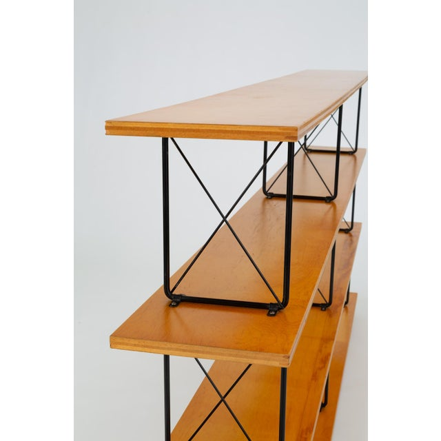 Modernist Mahogany Bookshelf With Black Wire Frame For Sale - Image 9 of 13