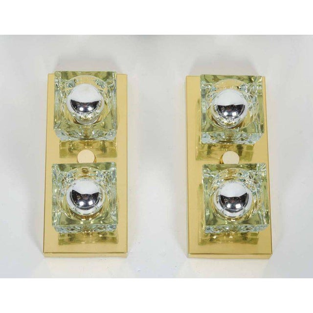 1970s Pair of Mid-Century Modern Brass and Glass Cube Sconces by Gaetano Sciolari For Sale - Image 5 of 11