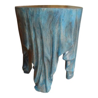 Vintage Organic Modern Carved Wood Draped Table For Sale