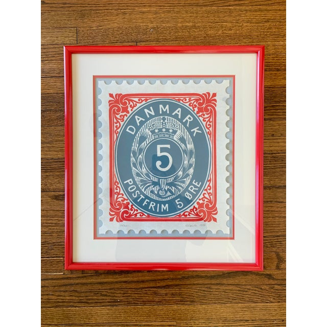 Vintage Framed Denmark Stamp, Signed and Numbered For Sale In Minneapolis - Image 6 of 6
