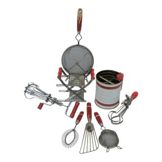 1930s Red Kitchenware Collection - 8 Pieces For Sale