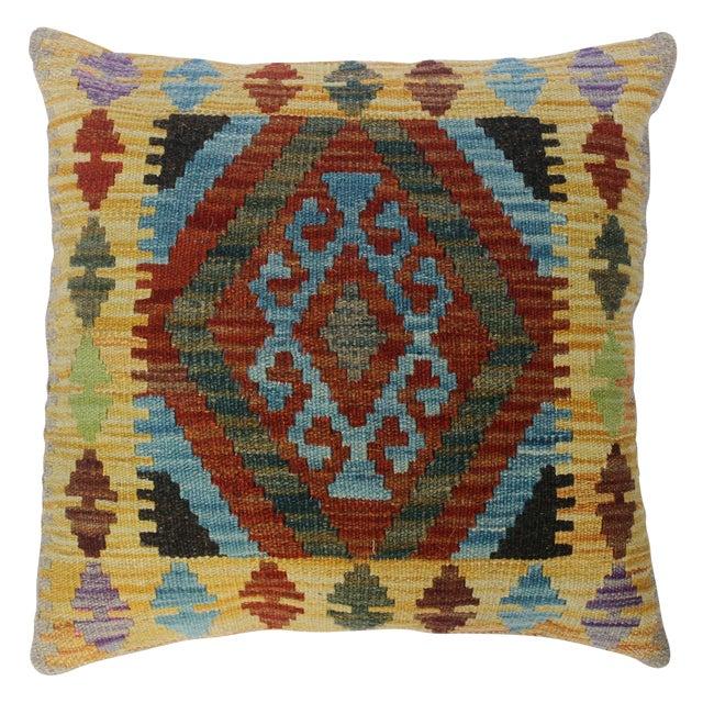 "Christen Gold/Lt. Blue Hand-Woven Kilim Throw Pillow(18""x18"") For Sale"