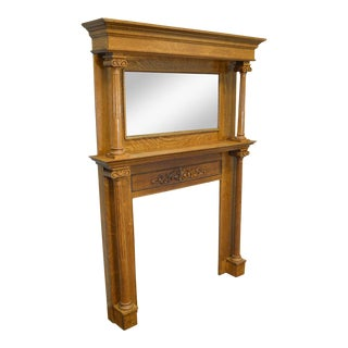 Antique Oak Fireplace Mantel with Mirror