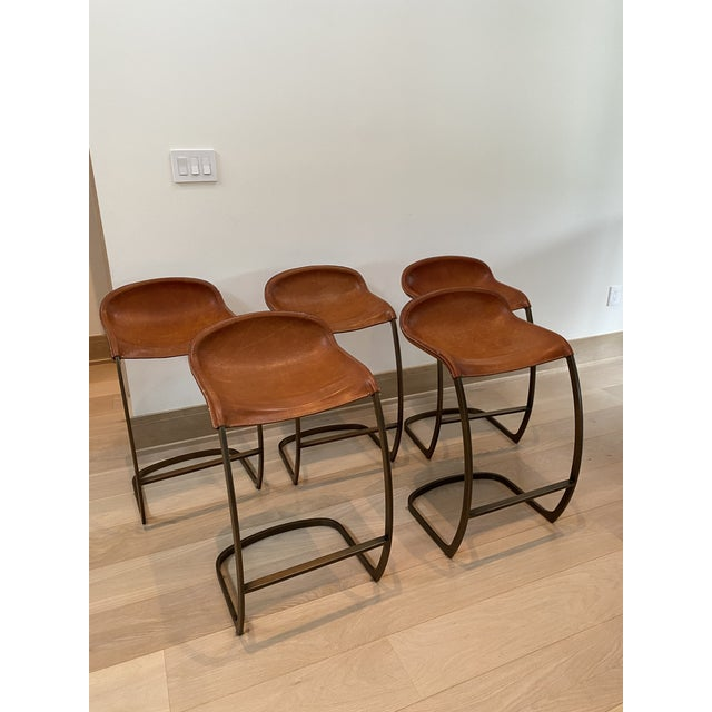 Modern Custom Made Emmerson Troop Leather and Brass Bar Stools - Set of 5 For Sale - Image 3 of 10