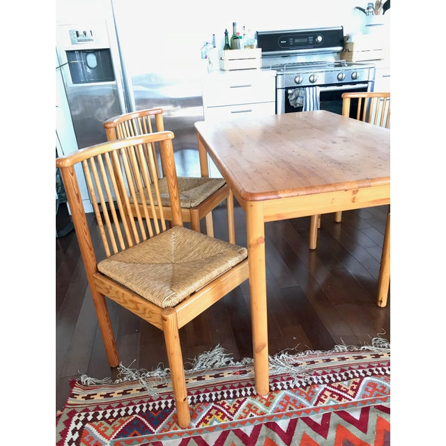 1960s Vintage Dining Table & 4 Pine Spindle Back and Rush Chairs - 5 Pieces For Sale - Image 10 of 11