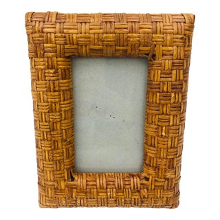 Vintage Woven Wicker Picture Frame For Sale