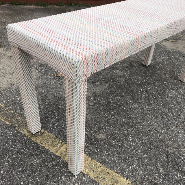 Scalamandre Upholstered Parsons Console Table For Sale - Image 4 of 10