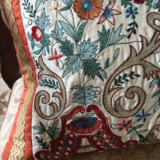 Luxury Silk Embroidered Decorative Pillow - Image 8 of 8