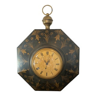 Vintage Neoclassic Tole Clock For Sale