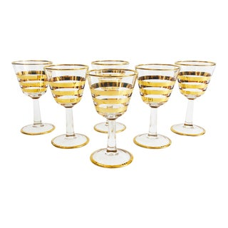 Mid Century Gold Striped Wine Glasses / Set of 6 For Sale