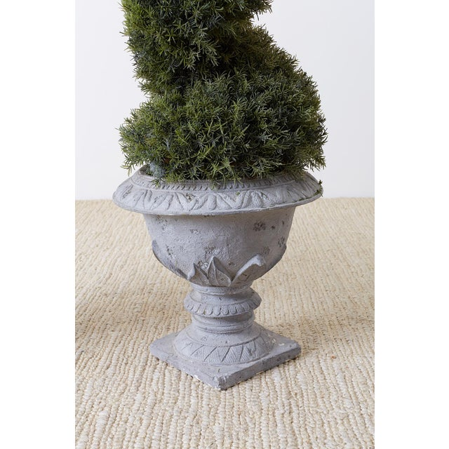 Pair of Faux Spiral Cypress Trees in Urns For Sale - Image 9 of 13