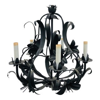 Vintage Floral Tole Chandelier For Sale