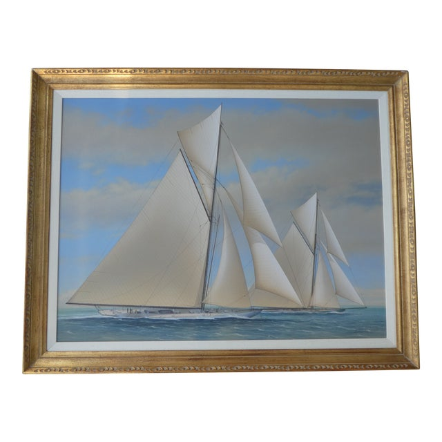 21st Century Vintage Yacht Racing Painting Possibly America's Cup by Richard Lane For Sale