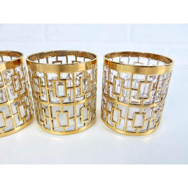 "Set of 4 Rare 2.75"" Imperial Glass 24k Gold Shoji Cocktail Glasses - Image 5 of 7"