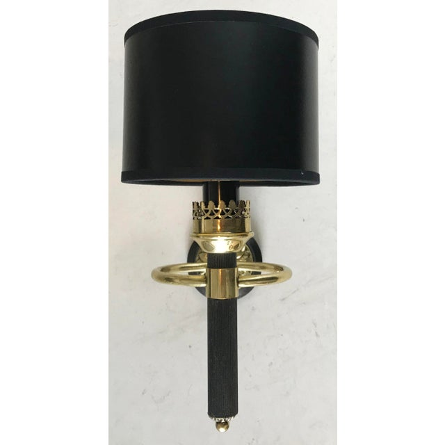 "Maison Jansen 1 arm sconce. Wired for US and in working condition 40W per bulb New round paper shade : 4""H, 5.5 Diameter..."