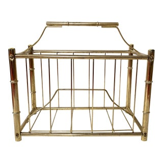 Vintage Brass Plated Faux Bamboo Magazine Holder For Sale
