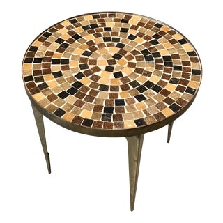 1960s Japanese Solid Brass and Glass Tile Side Table For Sale