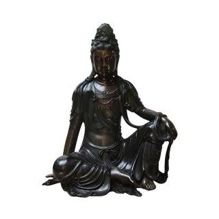 Chinese Fine Bronze Metal Sitting Tara Bodhisattva Kwan Yin Buddha Statue For Sale