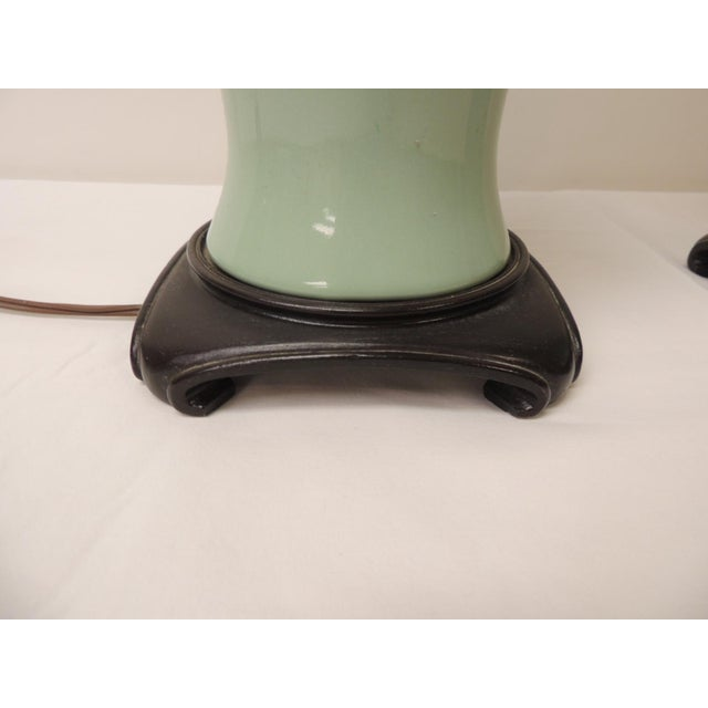 1960s Pair of Vintage Celadon Porcelain Table Lamps For Sale - Image 5 of 7