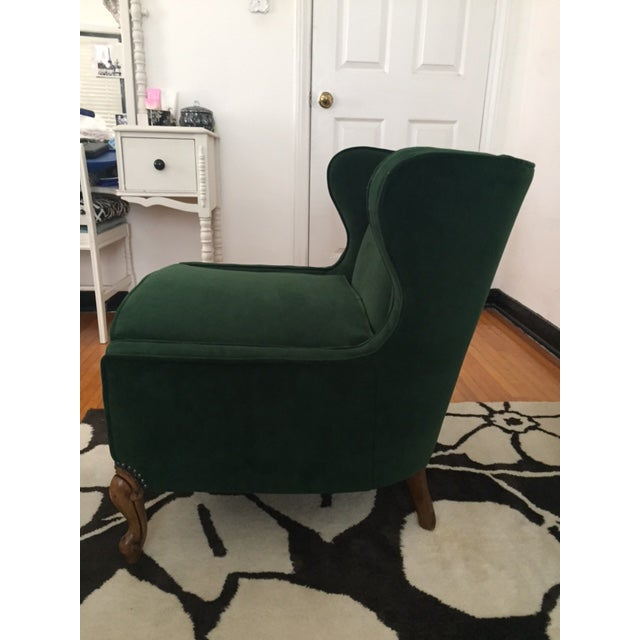 Deco Style Emerald Green Velvet & Ottoman - Image 4 of 6