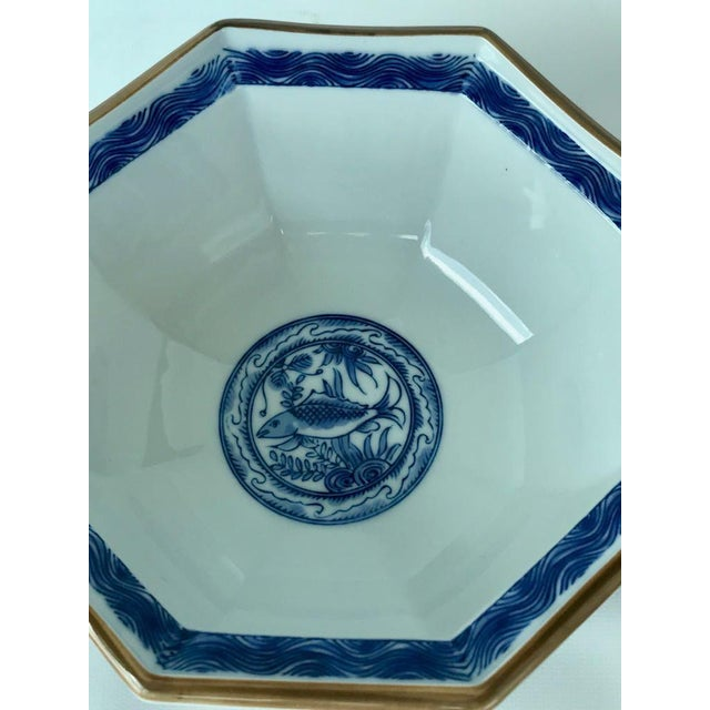 Vintage octagon shaped hand painted blue and white Japanese decorative bowl.