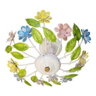 1960s Floral Tole Flush Mount Celing Light For Sale