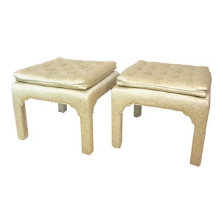 Hollywood Regency Asian Style Celery Green Upholstered Pillow Top Stools- a Pair For Sale