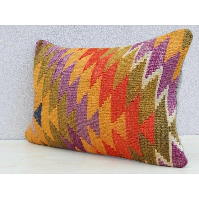 Boho Chic Vintage Turkish Kilim Lumbar Pillow For Sale - Image 3 of 6