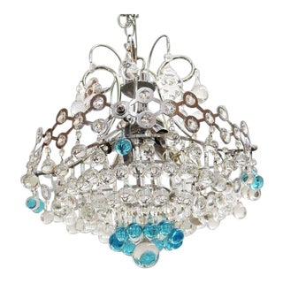 Italian Mid-Century Modern Chrome Chandelier with Clear and Turquoise Glass Balls For Sale